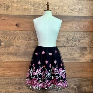 City Studio Floral Embroidered Skirt
